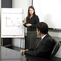 Woman giving a chart presentation